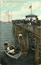 Ashbury Park New Jersey~Ivanhoe: Off To The Fishing~Boat Dock~1908 Postcard