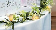 """Lighted White Lily Flowers Garland w/ Green Leaves Spring Floral Decoration 60""""L"""