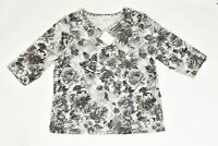 Women's CJ Banks Blouse Top NEW Floral 2X. Brown Damast Polyester Round Neck