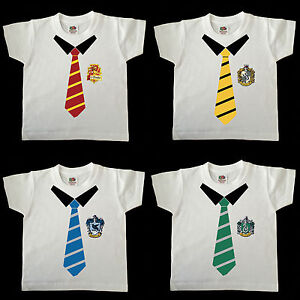 HARRY POTTER HOUSE TIE  TODDLER T SHIRT WHITE UP TOO AGE 6 YEARS