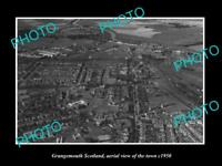 OLD LARGE HISTORIC PHOTO OF GRANGEMOUTH SCOTLAND, AERIAL VIEW OF TOWN c1950 1