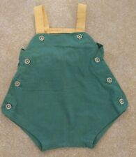 Vintage Handmade Infant Green Linen Romper Overalls w/ buttons and bow
