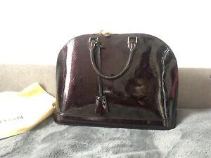 Authentic Louis Vuitton Alma Amarante Vernis Leather Handbag GM