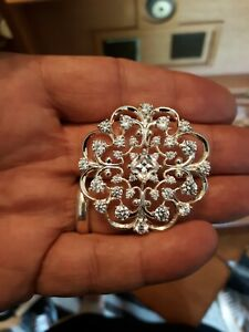 Large Vintage Sterling Silver Snowflake Pendant With CZ Stones Very Sparkly.