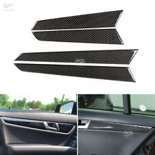 For Mercedes Benz C Class W204 Real Carbon Fiber Door Panel Strips Sticker Cover
