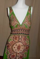 ANGIE MAXI DRESS MOROCCAN PATTERN on BRIGHT SPRING GREEN L PLUNGE BUST SMOCKED