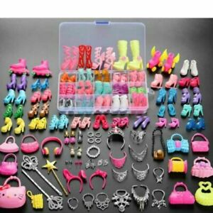 70pcs Items For Barbie Doll Jewellery Accessories Dresses Shoes Clothes Set