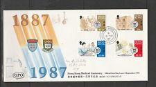 Hong kong FDC 1987 Medical Centenaires, Unaddressed SG 555/8