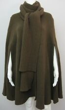 MICHAEL KORS COLLECTION Chocolate Wool Cashmere Ribbed Scarf Cape Coat, sz M/L