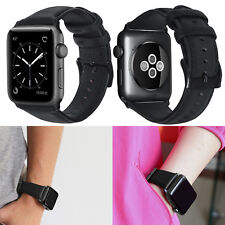 PASBUY 56B Genuine Leather Strap Band for Apple Watch Series 3 2 1 42mm Black