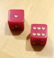 Two Vintage Acrylic Red Dice With White Pips Square 16mm Backgammon Bunco RPG