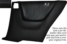 BLACK LEATHER 2X REAR FULL DOOR CARD SKIN COVERS FITS NISSAN SKYLINE R33 93-98