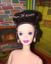 Beautiful Brunette Updo Barbie with Earrings/Ring Nude Blue Eyes Pink Lips