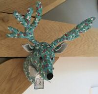 Floral Fabric Reindeer Head Wall Sculpture Decoration Fabric Stag Vintage Stag