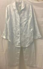 Collette by Miss Elaine Satin Pajama Set Light Blue Damask Floral Womens  Size S 73d3ff306