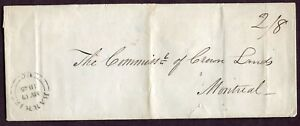 CANADA 1845 '2/8' MARKING ON STAMPLESS FOLDED LETTER BARRIE U.C TO MONTREAL L.C
