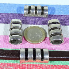 5 Abalorios Para Cuero Regaliz 28x14mm  T128C  Plata Tibetana Leather Beads Cuir