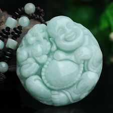 FINE Certified 100% Natural Grade A Jade (Aqua Jadeite) Round Buddha Pendant