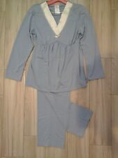 Mimosa Women Solid Blue Long Sleeve V-Neck Knit Pajama/Lounge 2pc Set   Size S/P