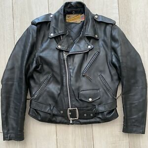 Schott Perfecto 618 Size M Man 42 USA Vintage 1978 Made In Usa Leather Black