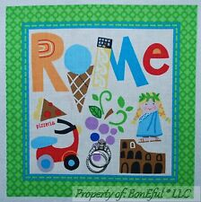 BonEful Fabric Cotton Quilt Block Square Rome Italy Italian Wine Pizza European