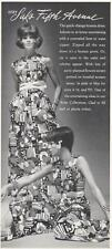 1968 Saks Fifth Avenue Fashion Hostess Dress Gown Screen Flowers PRINT AD