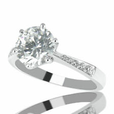 H/SI2 Round Cut Diamond Engagement Ring 1.35 CT 14K White Gold Solitaire