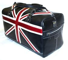 Union Jack Navy British Royal Luggage Holdall 100% Grain Organic Leather Bag New