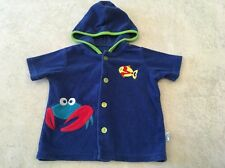 Wee Wave Swimsuit Coverup Blue Baby Terry Infant Crab Fish Hoodie