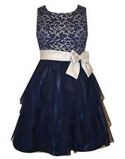 New Girls Bonnie Jean 10 Navy Silver Lace Cascade Ruffle Dress Special Occasion