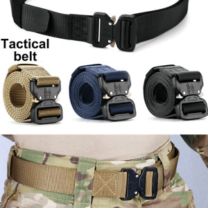 Mens Heavy Duty Military Belt Tactical Army Hunting Outdoor Utility Waistband UK