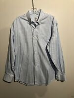 Men's Peter Millar Blue And White Long Sleeve Button Down Large