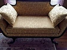 Duncan Phyfe LoveSeat Mahogany Wood Professionally Restored & Custom Upholstery