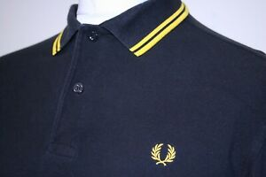Fred Perry Twin Tipped Long Sleeve Polo Shirt - M - Black/Bright Yellow - Top