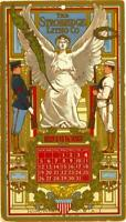 1908 STROBRIDGE LITHO CO. ADVERTISING CALENDAR TRADE CARD Cincinnati Ohio VG