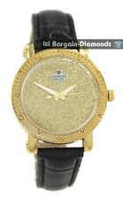 ladies diamond gold bling dial party clubbing watch black leather maxx