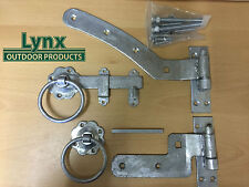 Curved Rail Gate Hinge Hanging Set 300mm Right Hand + Ring Latch GALVANISED