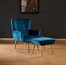 FLAT VELVET FLORENCE CHAIR WITH STOOL TEAL COLOUR