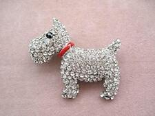 Dazzling Well Behaved Clear Crystal & Enamel 'Scottie'? Dog Brooch