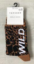 Ladies/Girls Animal Print With Wild On Tube Cotton Ankle Socks