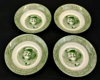 Currier & Ives The Old Curiosity Shop Set of 4 Berry Bowls Green Vintage 1950's