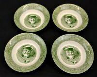 Currier & Ives The Old Curiosity Shop Set of 4 Berry Bowls Green Vintage 1950's