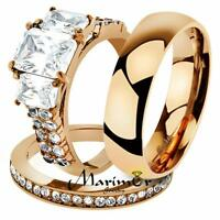 His & Her 4.50 Ct Rose Gold Stainless Steel Bridal Ring Set & Mens Weddding Band