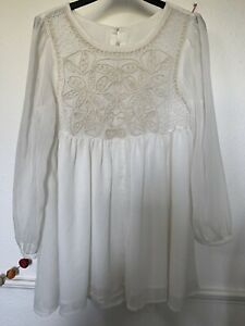 Gorgeous Vintage Boho Hippy Top Festival Embroidered Size M 10 12