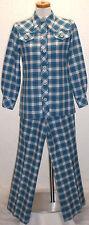 Vintage 1970s Country Set Denim Blue Red&White Plaid 2pc Jacket-top Pant Suit