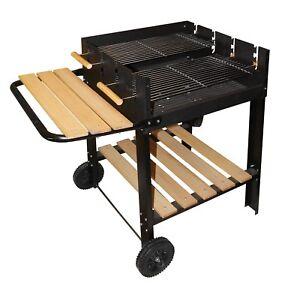 Barbecue a carbonella e a legna trasportabile in metallo 14 coperti Nero