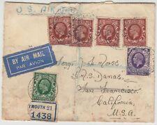 MARITIME 1935 *HMS DANAE* official reg cover PLYMOUTH-HMS DANAE in SAN FRANCISCO