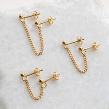 Gold Double Piercing Chain Stud Earring