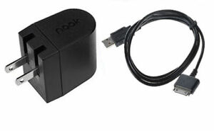 """HOUSE WALL POWER CHARGER +USB CABLE 4 BARNES & NOBLE NOOK HD 7"""" + 9"""" TABLET 16"""