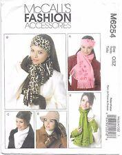 McCalls 6254 Headbands Hat Scarves sewing pattern Neck Warmer Gloves uncut FF